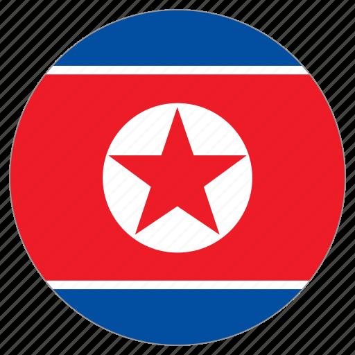 circular, flag, north korea, world icon