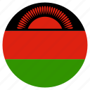 circular, flag, malawi, world icon
