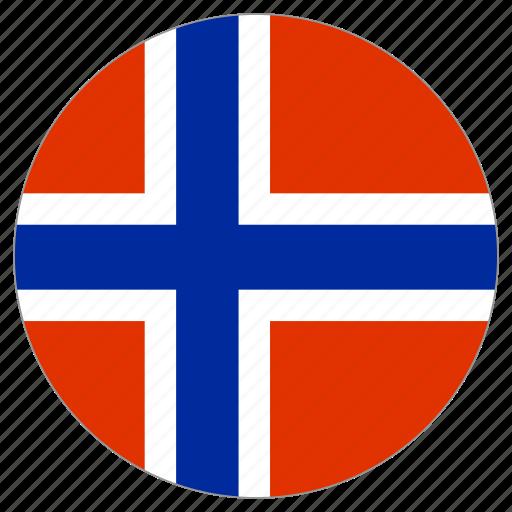 circular, flag, norway, world icon
