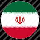 circular, flag, iran, world icon