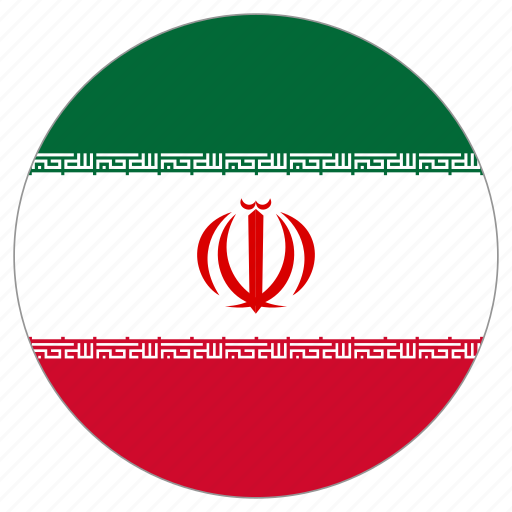 circular, flag, iran, world icon