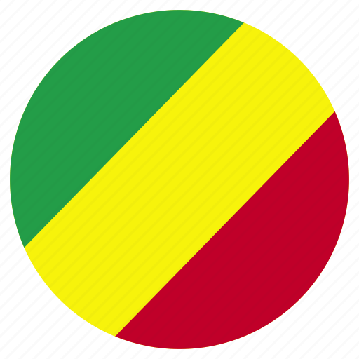 circular, flag, republic of the congo, world icon