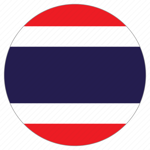 circular, flag, thailand, world icon