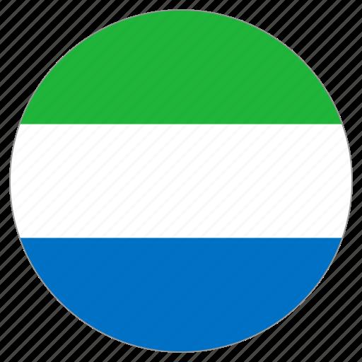circular, flag, sierra leone, world icon