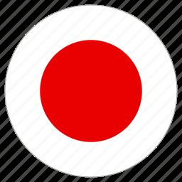 circular, flag, japan, world icon