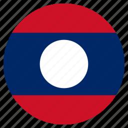 circular, flag, laos, world icon