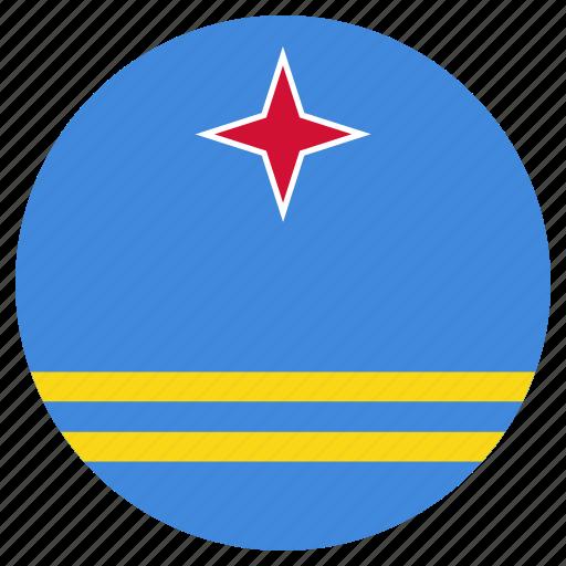 aruba, circular, flag, world icon