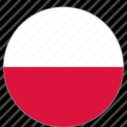 circular, flag, poland, world icon