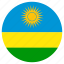 circular, flag, rwanda, world icon