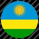 circular, flag, rwanda, world icon