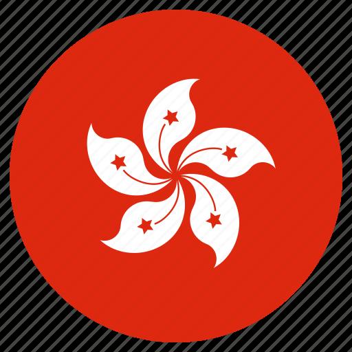 circular, flag, hong kong, world icon