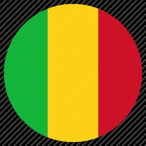 circular, flag, mali, world icon