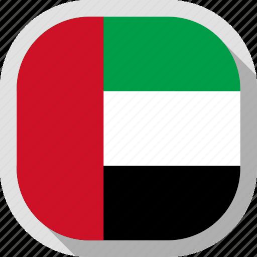 arab, emirates, flag, rounded, square, world icon