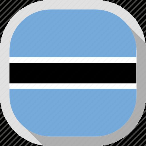 botswana, flag, rounded, square, world icon