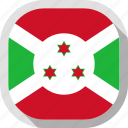 burundi, flag, rounded, square, world icon