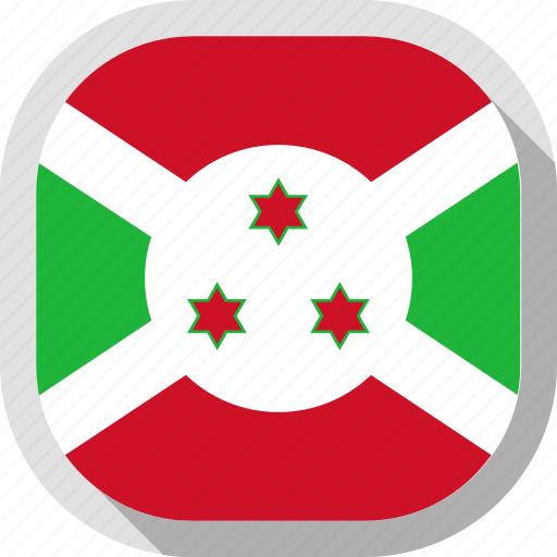 burundi, flag, rounded, square, world icon