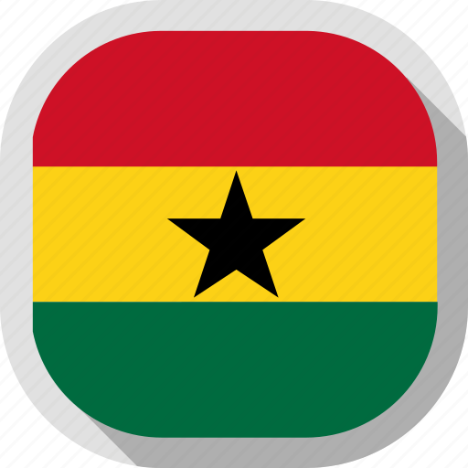 flag, ghana, rounded, square, world icon