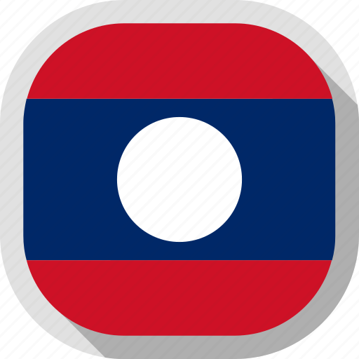 flag, laos, rounded, square, world icon