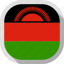 flag, malawi, rounded, square, world icon