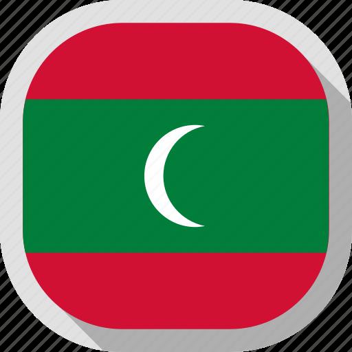 flag, maldives, rounded, square, world icon