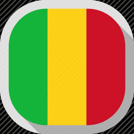 flag, mali, rounded, square, world icon