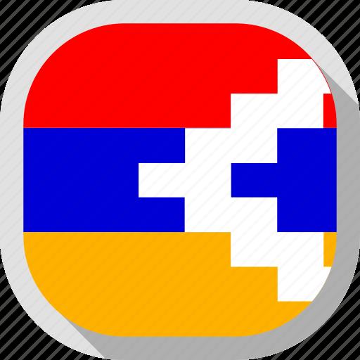 flag, karabakh, nagorno, republic, rounded, square, world icon