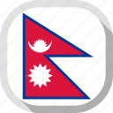 flag, nepal, rounded, square, world icon
