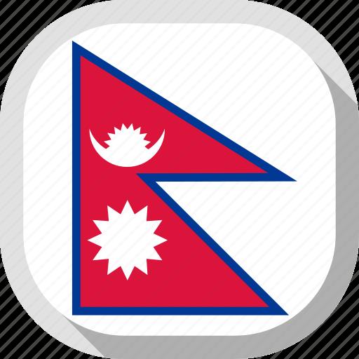 flag, nepal, rounded, square, world icon