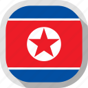 flag, korea, north, rounded, square, world icon