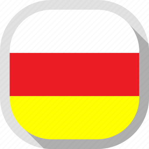 flag, north, ossetia, rounded, square, world icon