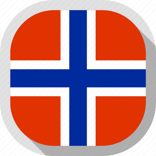 flag, norway, rounded, square, world icon
