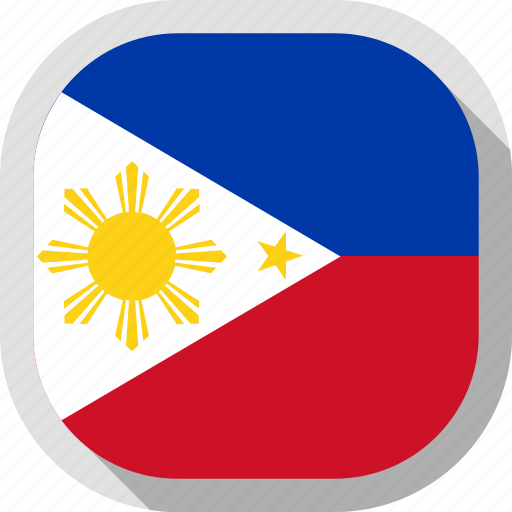 flag, philippines, rounded, square, world icon
