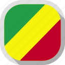 congo, flag, republic, rounded, square, world icon