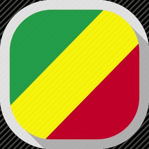 congo, flag, republic, rounded, square, world icon