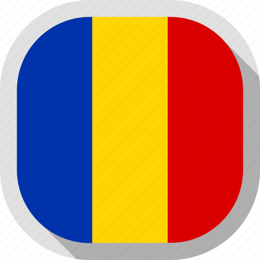 flag, romania, rounded, square, world icon