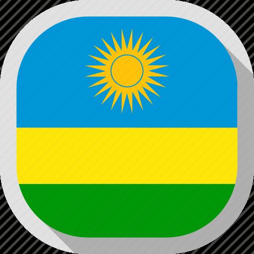flag, rounded, rwanda, square, world icon