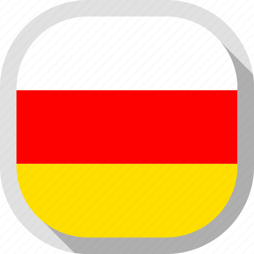 flag, ossetia, rounded, south, square, world icon