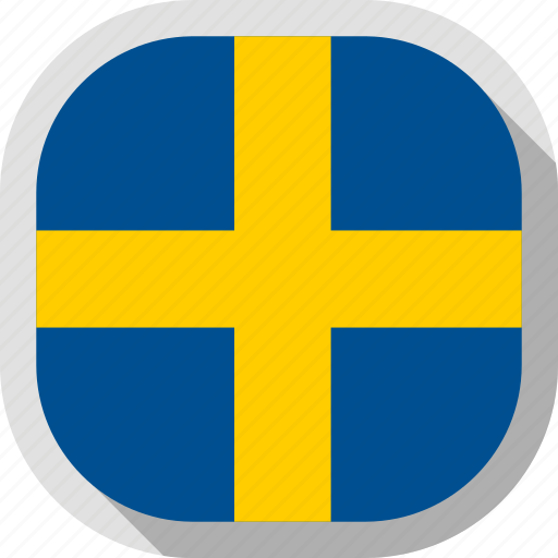 flag, rounded, square, sweden, world icon