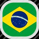 brazil, flag, world icon