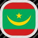 flag, mauritania, new, world icon