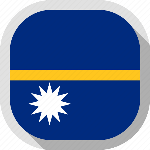 circle, country, flag, nauru, rounded, square icon