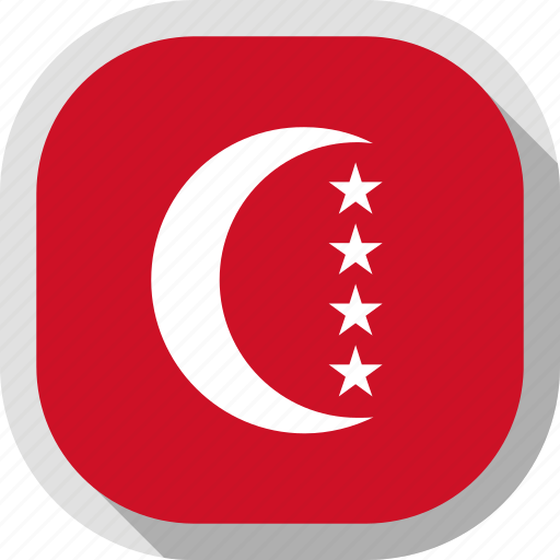 anjouan, circle, country, flag, rounded, square icon