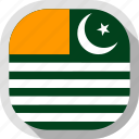 azad kashmir, circle, country, flag, rounded, square icon