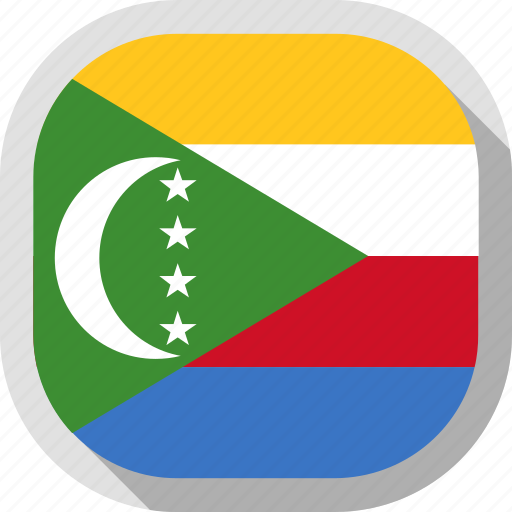 circle, comoros, country, flag, rounded, square icon