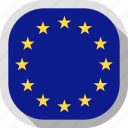 circle, country, european union, flag, rounded, square icon
