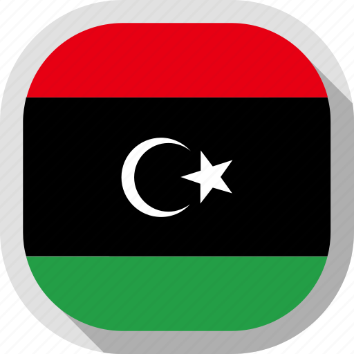 circle, country, flag, libya, rounded, square icon
