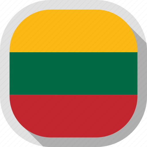 circle, country, flag, lithuania, rounded, square icon