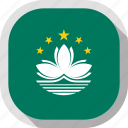 circle, country, flag, macau, rounded, square icon