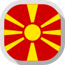 country, circle, flag, macedonia, square, rounded