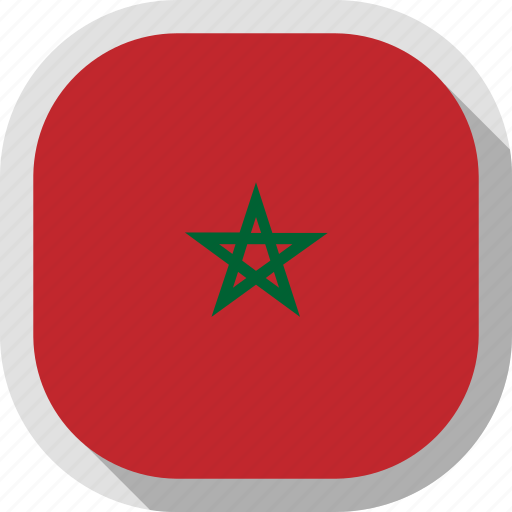 circle, country, flag, morocco, rounded, square icon
